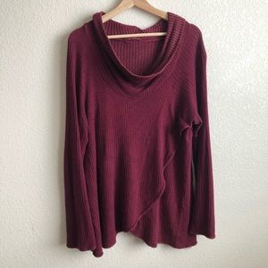 Boutique maroon cowl neck tunic faux wrap sweater